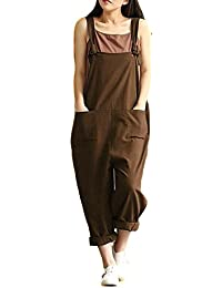 69f8dc66d4 Helisopus Women s Plus Size Linen Overalls Baggy Adjustable Strap  Sleeveless Jumpsuits Casual Loose Wide Leg Dungarees
