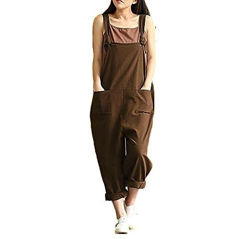 Helisopus Women's Plus Size Linen Overalls Baggy Adjustable Strap Sleeveless