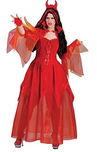 Teufel Kostüm Funny - Karneval-Klamotten Teufel Kostüm Damen Teufelkostüm langes Teufel-Kleid Teufelin Damenkostüm Halloween Größe 40/42