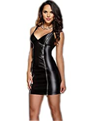 Sexy Wetlook Minikleid Kleid Leder Lack Stretch Clubwear Fetisch Party Dress