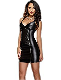 Sexy Wetlook Minikleid Kleid Leder Lack Stretch Clubwear Fetisch Party Dress
