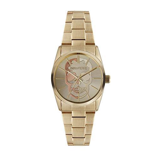 Orologio unisex Zadig & Voltaire al quarzo quadrante dorato 36mm e braccialetto dorato in acciaio zvt002
