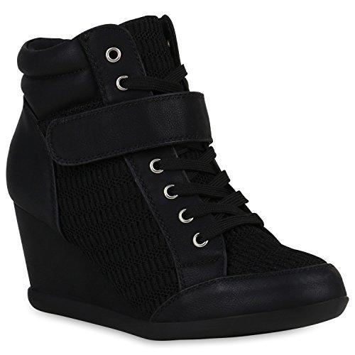 Damen Sneaker Wedges Keilabsatz Schuhe Freizeit Sneakers High 149440 Schwarz Spitze 38 | Flandell®