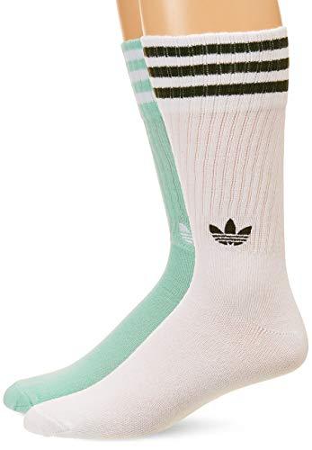 adidas Unisex Solid Crew 2p Socken für Erwachsene, Unisex - Erwachsene, DH3362, Clemin/Bianco/Bianco/N, 43-46