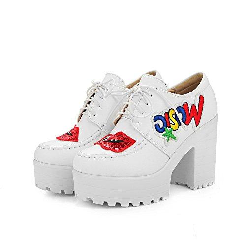 VogueZone009 Damen Rund Zehe Schnüren Pu Leder Gemischte Farbe Hoher Absatz Pumps Schuhe Weiß