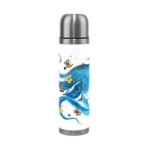 Eslifey Wasserflasche mit blauem Oktopus mit Schmetterlingen, auslaufsicher, Vakuum-Thermosflasche, Edelstahl, 500 ml (Octopus-becher Blauer)