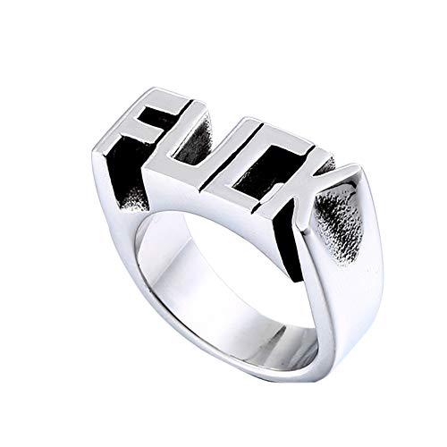 Anillo punky 1PC para el anillo de joyería fresca Carta de los hombres de acero inoxidable anillo grabado Diseño Mans regalo (8)