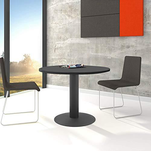 WeberBÜRO Optima runder Besprechungstisch Ø 100 cm Anthrazit Anthrazites Gestell Tisch Esstisch