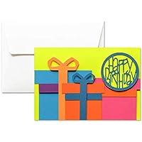 Joyeux anniversaire - Forfaits - Cadeaux - Fluo - carte de voeux avec enveloppe (10,5 x 15 cm) - carte faite à la main - blanc à l'intérieur