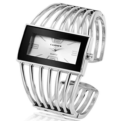 se Gold Armreif Armband Uhr Frauen Kleid Uhr Dame Saati Mädchen Armbanduhr Silberweiß ()