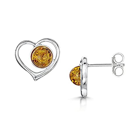 Amberta 925 Sterling Silver with Baltic Amber - Stud Heart Shaped Earrings - Honey Colour