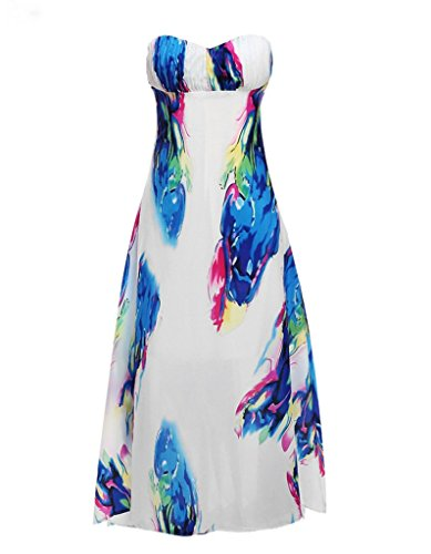 BOMOVO Damen Sommer Schulterfrei Lang Cocktail Celebrity Party Abendkleid Brautkleider Maxi Kleid Mehrfarbig