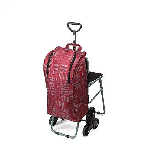 Borsa trolley per la spesa con 6 ruote e seduta
