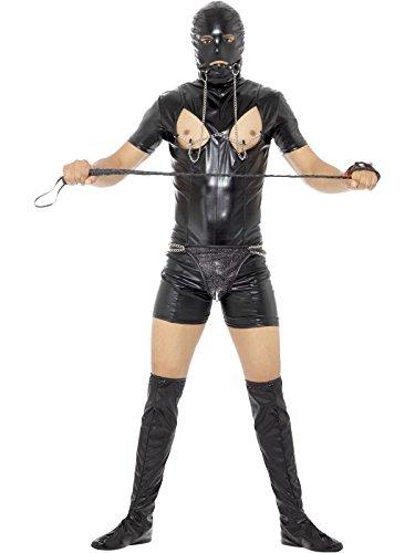 (Smiffys Herren Sklaverei Kostüm, Bodysuit, Haube, Stiefel Überzieher, Stringtanga, Knebel und Nippel Klammern, Größe: L, 45599)
