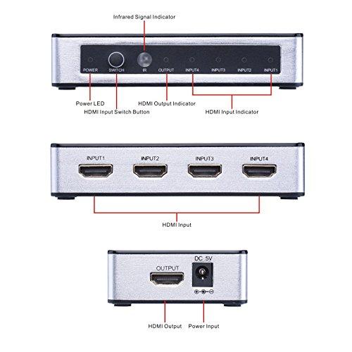 Tendak 4Kx2K4 Anschlüsse High-Speed HDMI Switcher Selector (4in1Out) mit Fernbedienung Unterstützt 1080P 3D PIP Automatik Schalter für Xbox/PS3/Apple TV/Roku/FireTV/Blu-Ray Player - 2