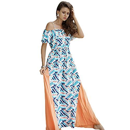 CDCDL Damen Elegant Kleide-Blattrand - Schlinge - großes Pendel - Nähen - Drucken, Sommerstrand Elegantes Chiffon,L -