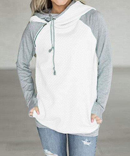 DEMO Frauen Kapuzenpullover Sweatshirt Lässig Hoher Kragen Patchwork Sweatshirt Kapuzenoberteil Weiß