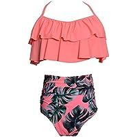 keephen 2 Bikini Conjunto de Cintura Alta de Estampado Floral Traje de baño Ropa de la