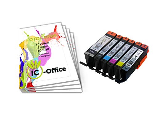 Canon pgi570 cli571 pgi-570 cli-571 - set di cartucce per stampante pixma con carta fotografica ic-office da 210 g/mq, 10 x 15 cm, colore bianco lucido 200 blatt 6er set mit grau