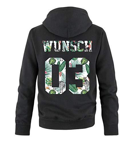 Comedy Shirts - Wunsch - Herren Hoodie - Schwarz/Exotisch - Gr. M