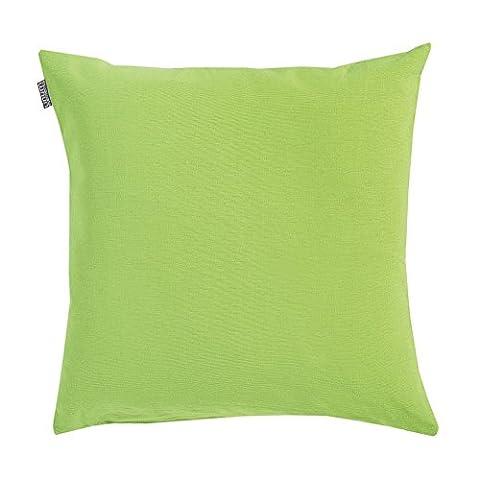 Linum Kissenhülle ANNABELL A88 apfelgrün 50cm x 50cm uni aus Baumwolle mit Reißverschluss