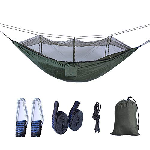 Single & Double Camping Hängematte mit Mosquito/Bug Net, Easy Assembly | Tragbare Parachute Nylon Hängematte für Camping, Backpacking, Survival, Travel-e 8.5 * 4.6ft