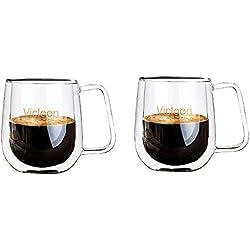 Vicloon Lot de 2 Double Paroi Verre à Café, Tasses à Latte en Verre 250ml - Idéal pour Cappuccino,Thé,Bière,Boissons Glacées