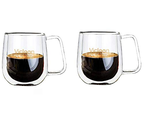 Vicloon Double Walled Glass Mugs, Transparent Borosilicate Glass Cups for Tea,Coffee,Latte,Cappuccino,Espresso,Beer- Heat-resistance Cups,Set of 2 (250ML)
