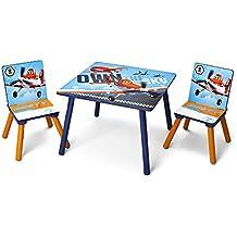 Delta TT 89453 - Juego de sillas y mesa infantiles (mesa de 60x60cm, 2 sillas, tablero de fibras de madera), diseño de Aviones