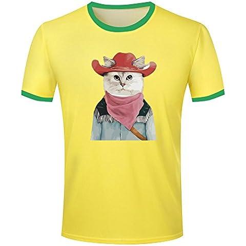 Mens Cowboy cat Knight ringer t-shirt tops contrast colour tee