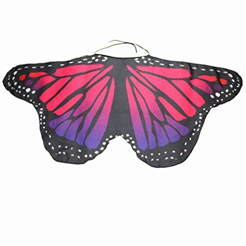Schmetterling Kostüm Dasongff Kind Kinder Jungen Mädchen Böhmischen Schmetterling Print Schal Karneval Kostüm Faschingskostüme Cosplay Kostüm Zusatz (118 * 48CM, Rose rot-I)