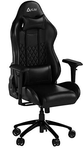 KLIMTM Esports - Chaise Gaming + Simili Cuir et Matériaux Premium Haute Qualité + Chaise Gamer inclinable + Ergonomique avec Coussin Lombaire et Cervical + Fauteuil Gamer Noir Nouvelle Version 2020