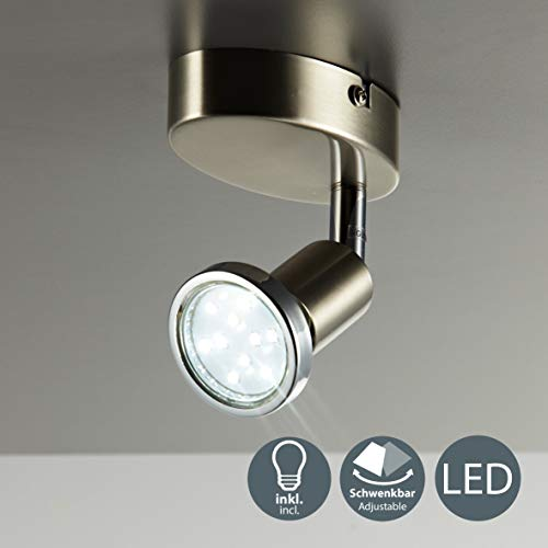 Lámpara de techo y pared, Foco orientable y giratorio incl. 1x3W LED GU10 250lm, Luz blanco cálido...