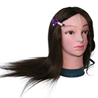 TOPBeauty 100% Real Human Hair 20 Inch Training Mannequin Head Hairdresser Training Head w/Clamp For College and Professional to practice Perm and Dye
