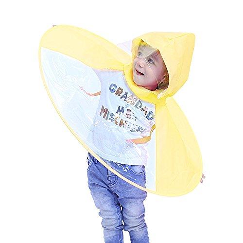 Kinder Regenmantel Regenschirm Hut   Faltbare Hände frei Regenmantel für Kinder 2-8 Jahre Adorable Neuheit UFO Regenmantel (Gelb, S)