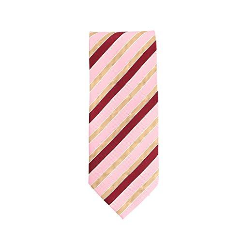 Silk classico cravatta seta rosa porpora oro strisce 9 (Oro A Strisce Cravatta)