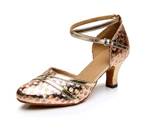 Honeystore Neuheiten Frauen's Kunstleder Heels Wellenpunkt Pailletten Absatzschuhe Moderne Latein-Schuhe mit Knöchelriemen Tanzschuhe LD0115 Champagner 37 CN