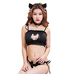 YZYP Cat Bikini Kitty Cosplay Embroidery Sexy Lingerie with Bell Neck (Schwarz, Large)
