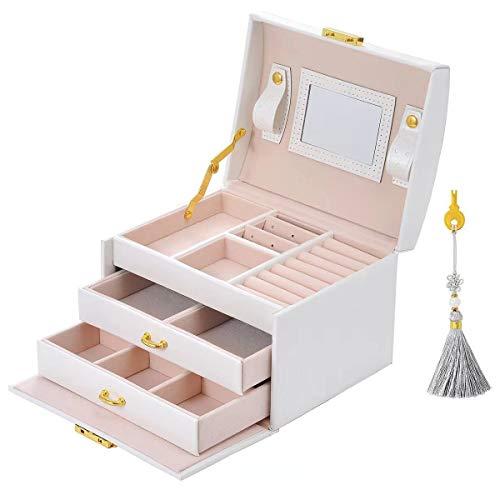 Sonnis Caja Joyero Caja de Joyas,Estuche Rectangular para Guardar Joyas,Pendientes,Anillos y Collares,Espejo y Cajones,Tapa Elevable para Relojes (Blanco)