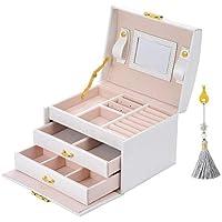 E-MANIS Caja Joyero Caja de Joyas,Estuche Rectangular para Guardar Joyas,Pendientes,Anillos y Collares,Espejo y Cajones,Tapa Elevable para Relojes (Blanco)