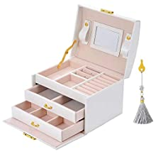 E-MANIS Jewellery Box, 3 Layers PU leather jewelry storage box with mirror and lock, Drawer type, For storing rings, bracelets, earrings, necklaces, Synthetic leather and velvet, Female gift - White
