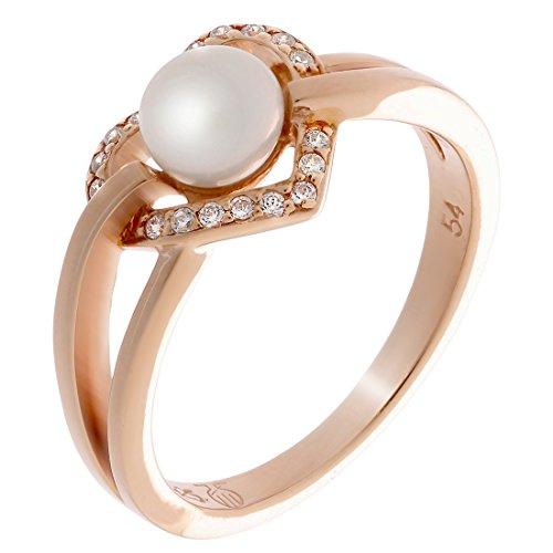 Orphelia Damen-Motivring mit Rund Perle Ringgröße 54 (17.2) - ZR-7233/RG/54