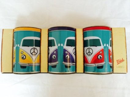 New-Kitchen-Retro-VW-Campervan-Metal-Storage-Canisters-Tins-for-TeaCoffeeSugar