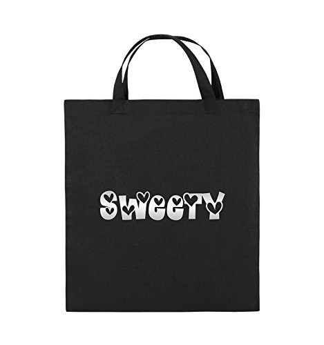 Comedy Bags - Sweety - HERZEN - Jutebeutel - kurze Henkel - 38x42cm - Farbe: Schwarz / Pink Schwarz / Silber