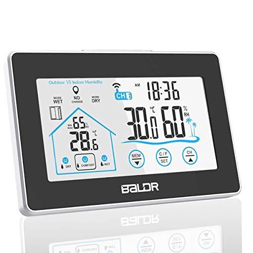 TEKFUN Wetterstation Funk mit Außensensor Wettervorhersage, Digital Thermometer-Hygrometer für Innen und außen, mit Uhrzeitanzeige,Touchscreen (Schwarz)