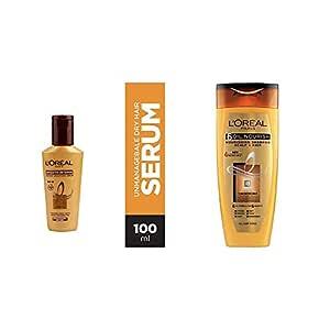 L'Oreal Paris Smooth Intense Serum, 100ml & L'Oreal Paris 6 Oil Nourish Shampoo, 175ml (With 10% Extra)