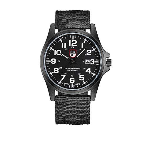 Paar Mode Nylon Armband Analog Quarz Runde Armbanduhr Uhren Stilvolle und Einfache Herrenuhr aus Outdoor-Datum Edelstahl Militärsport Quarz Armee-Armbanduhr für Herren (schwarz)