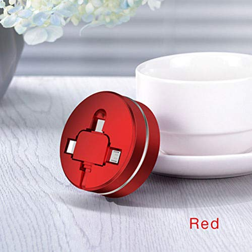Ladekabel 3 in 1 Zubehör Mini Durable Retractable USB Multifunktionale Schnellladung ABS Sync Tragbares Handy Datenkabel Universal Storage(Rot) - Mini Retractable Sync
