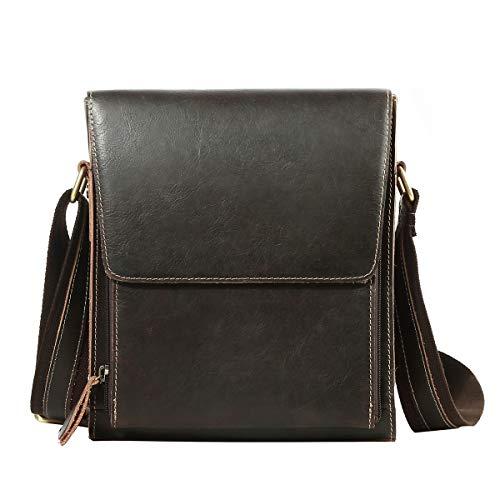 Leathario Leder Schultertasche Umhängetasche Herren klein Bodybag aus echtem Büffel-Leder im Vintage Look für Freizeit Arbeit Reisen und Alltag Braun