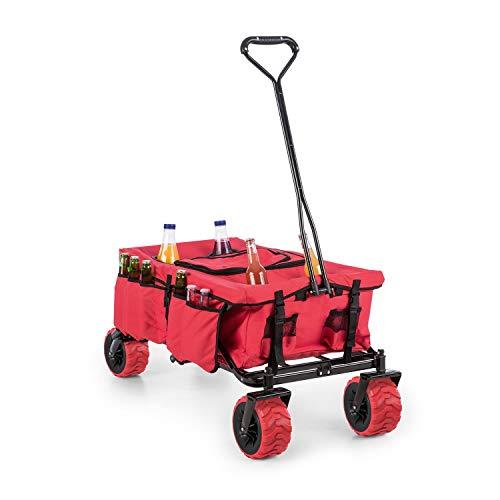 Waldbeck Red Devil Bollerwagen - Handwagen, 68 kg Belastbarkeit, herausnehmbare, große Kühltasche, kippsicher, extrabreite Kunststoffräde, witterungsbeständiger Polyesterbezug, faltbar, rot